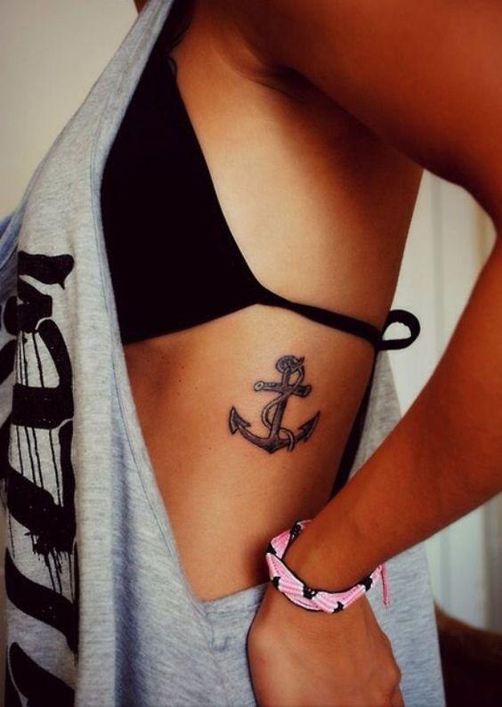 anchor tattoo on rib