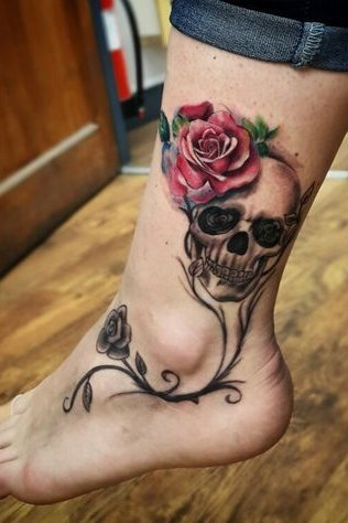 ankle skull and rose tattoo