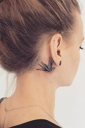 sparrow tattoo on ear back