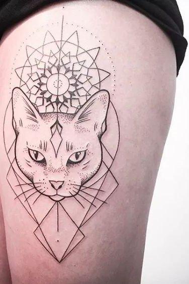 geometric shapes and cat tattoo
