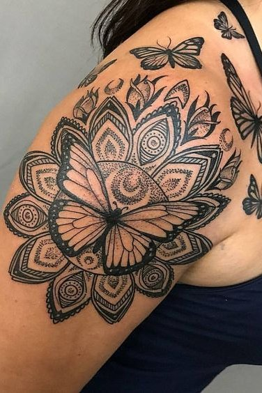 Mandala + Butterfly Tattoo on Shoulder