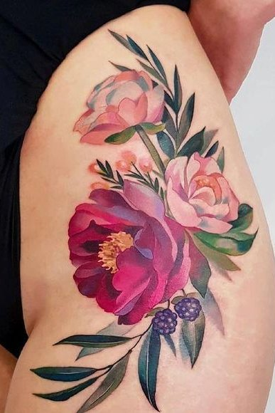 Thing flower tattoo for women
