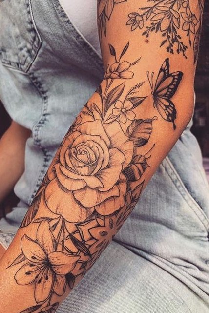 Flower tattoo on forearm