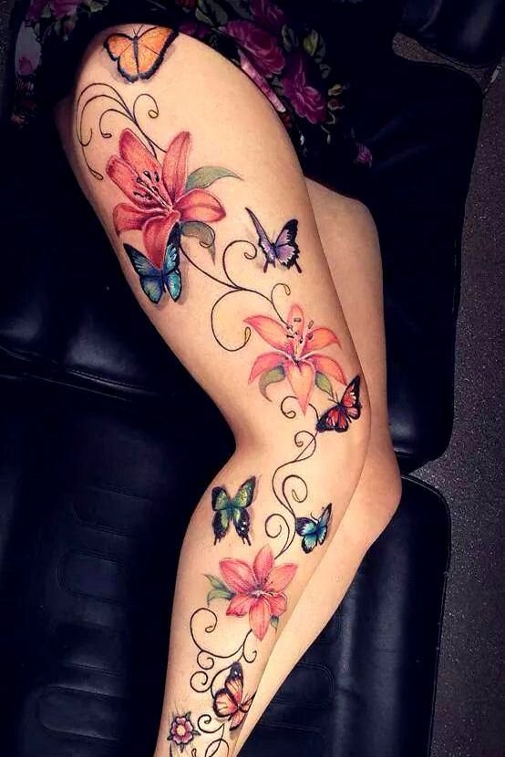 full on leg butterfly tattoo