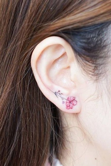 flower tattoo on ear