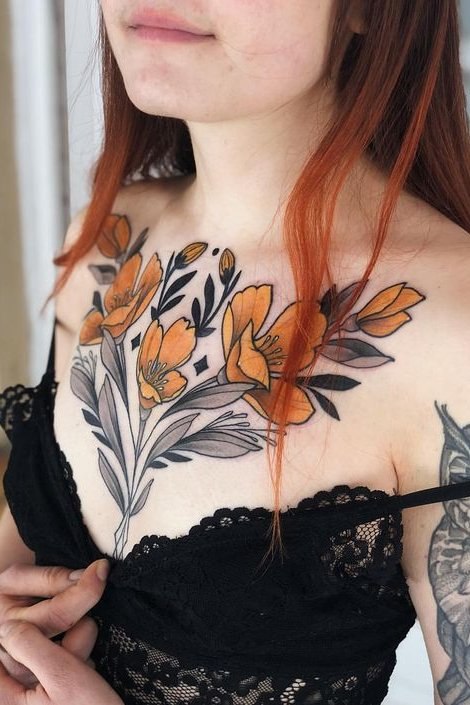 Chest flower tattoo