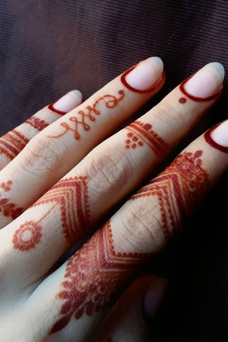 black henna tattoo on fingers