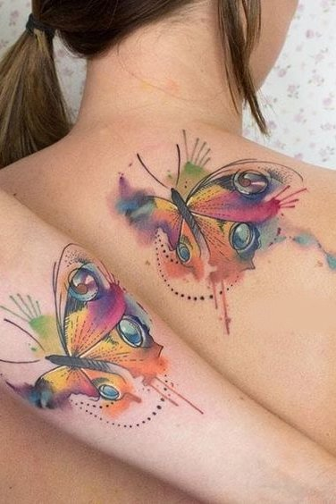 watercolor tattoo on back