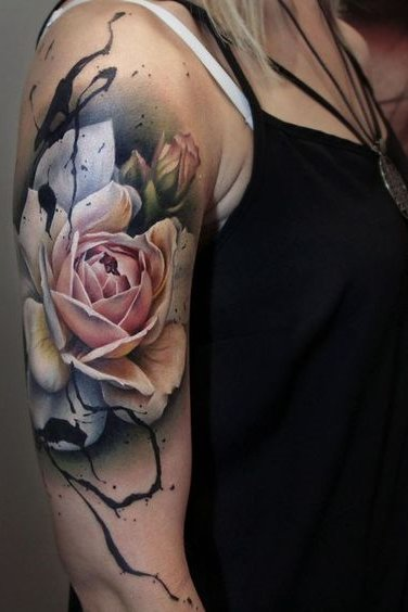 watercolor tattoo on shoulder