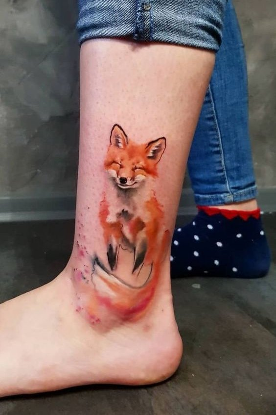 watercolor tattoos on ankle