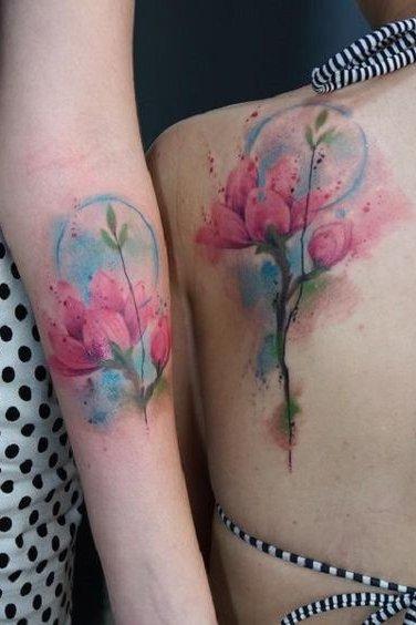 watercolor tattoo on rib