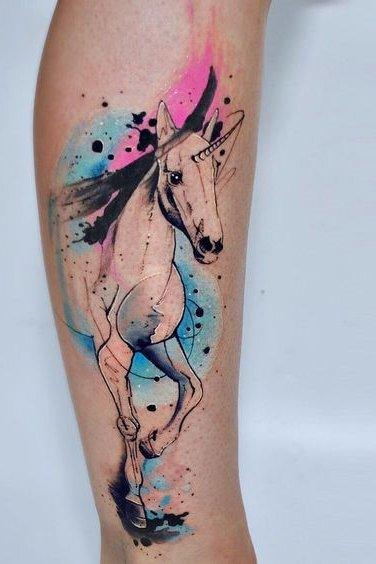 horse watercolor tattoo