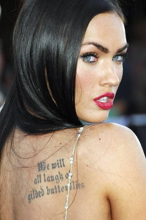Megan Fox tattoo on her back