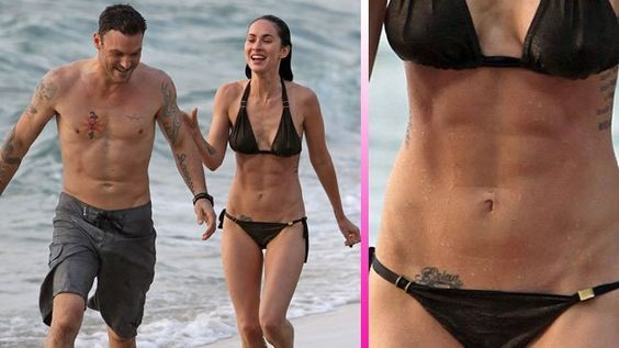 megan fox brain tattoo on her right side hip bone