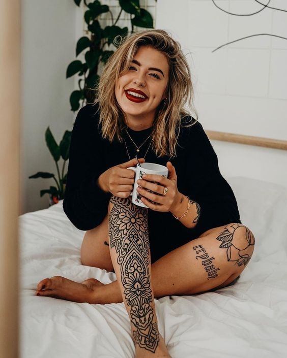 Flower Leg Tattoos for women