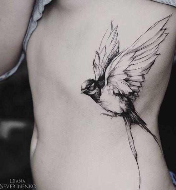 bird tattoos for women on rib