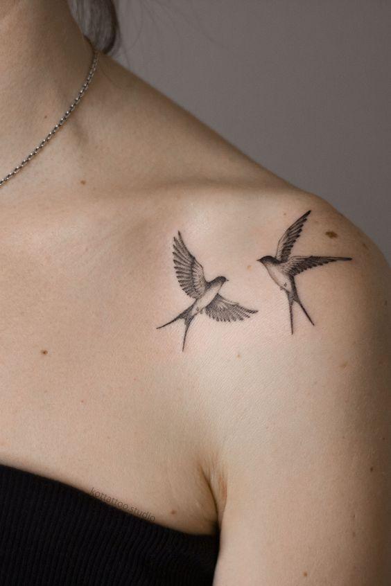 small bird tattoos for women on shoulder