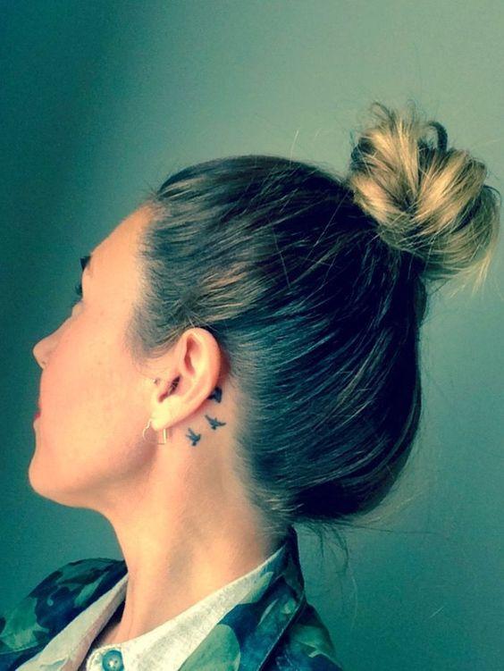 bird tattoos for women on behind ear