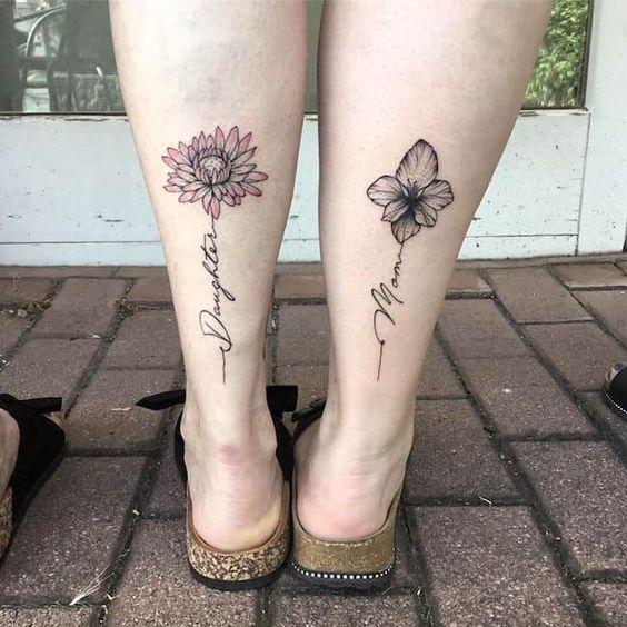 flower Tattoo on Calf