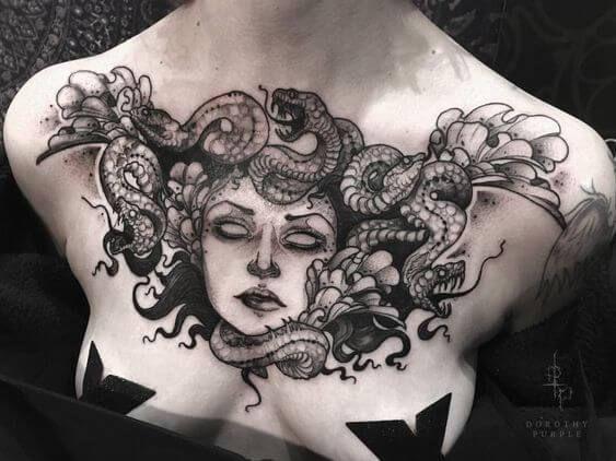 Medusa Tattoos on chest