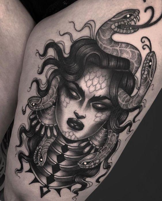 Medusa Tattoos on thigh