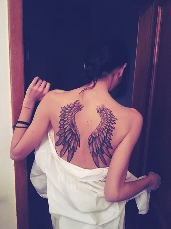 Angel tattoos on back for women