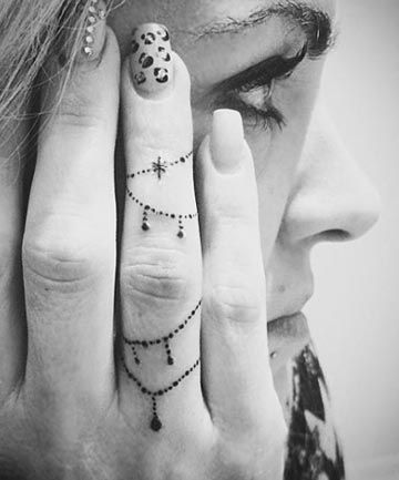 Bracelet tattoos on finger