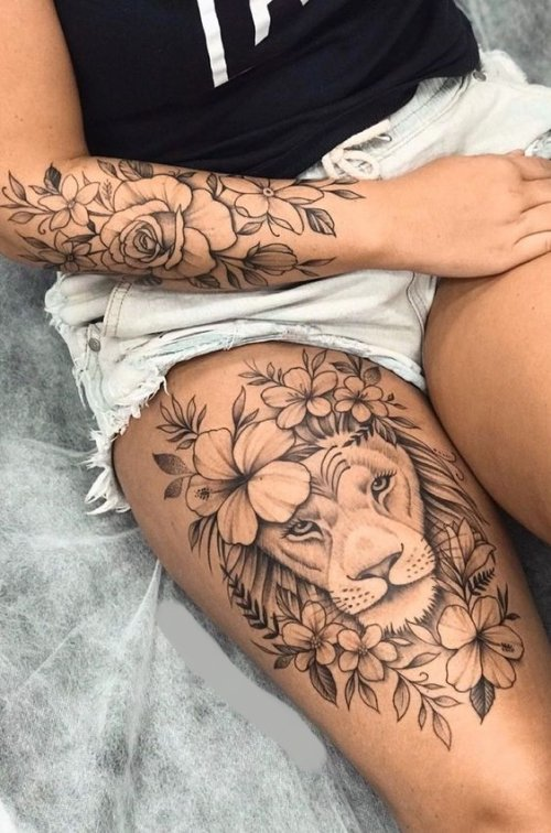 Lion Tattoo on Thigh for women