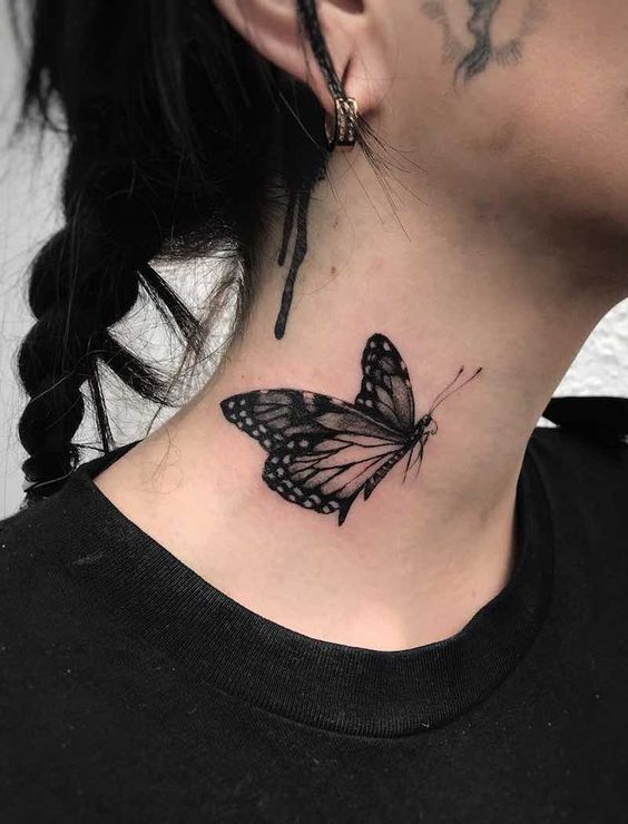 butterfly tattoos for women side neck