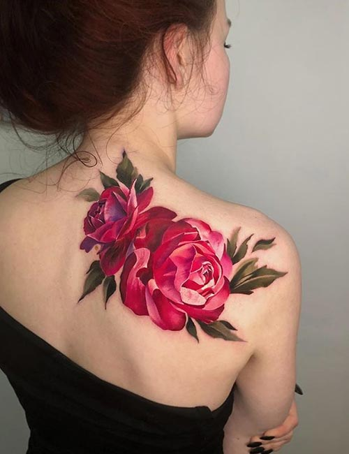 3D Colorful Flower Tattoo