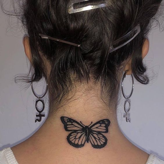 Butterfly Tattoo on Back Neck