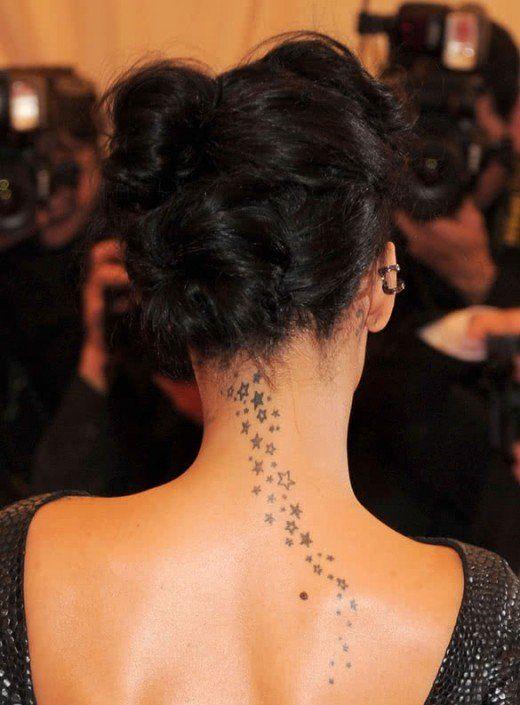 small stars Tattoo on Back Neck