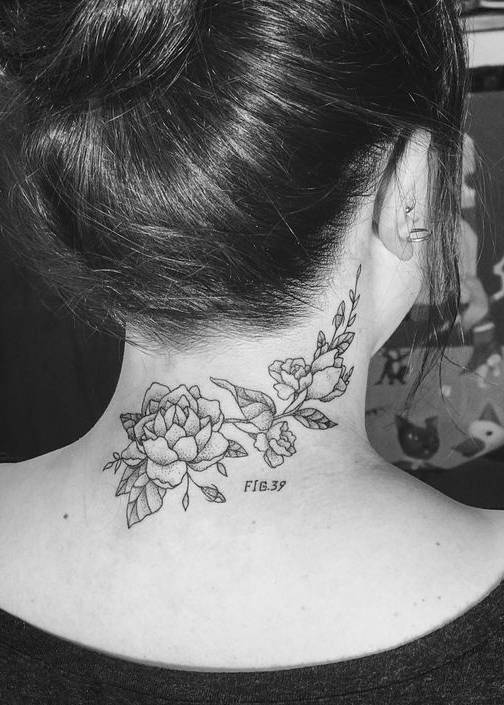 Flower Tattoo on Back Neck
