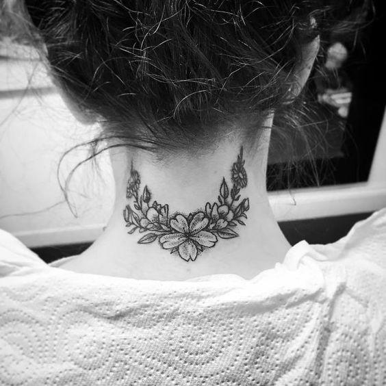 Flower Tattoo on Back Neck