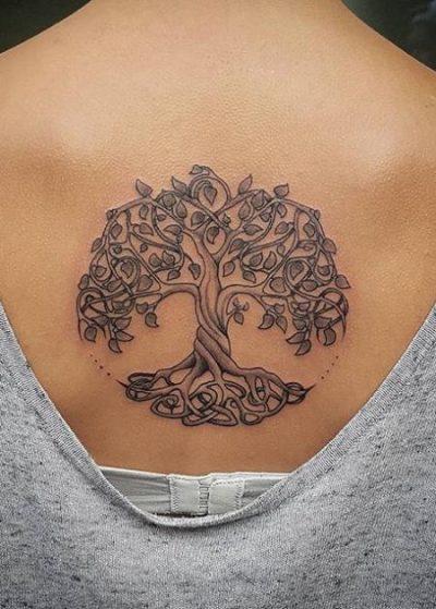 Celtic symbol tattoos on back