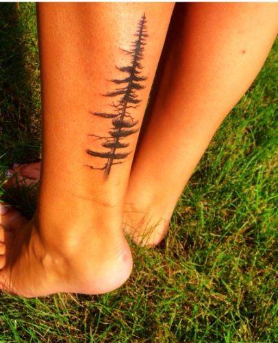 Tree Tattoo on Back Leg