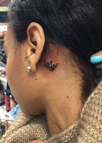 Behind the Ear Crown Tattoo