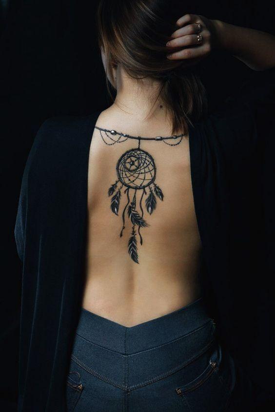 dream catcher tattoo on back