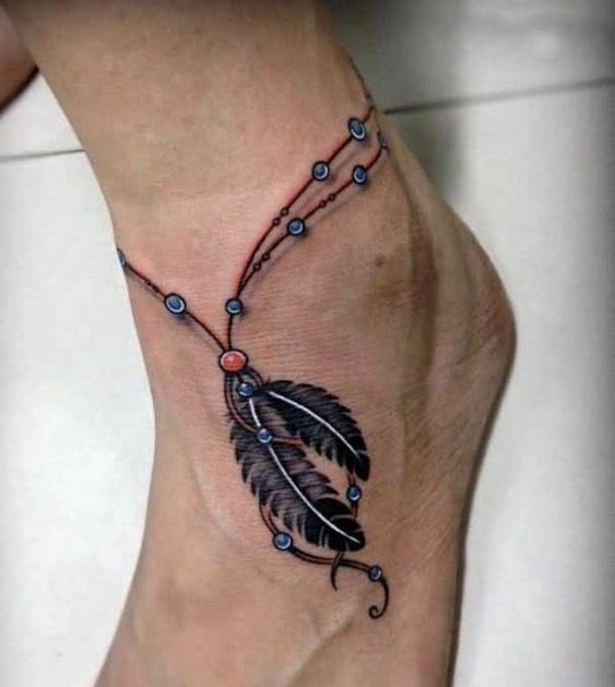 Feather Tattoo on Ankle