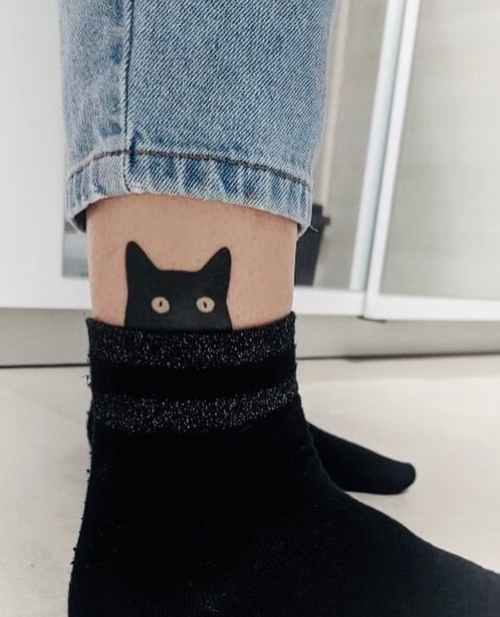 Cat Tattoo on Ankle
