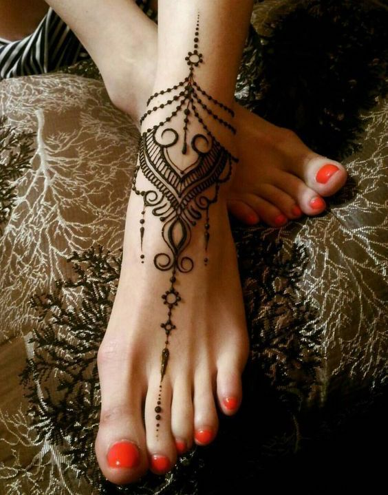 Henna Tattoo Design on Ankle