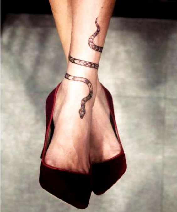 Snake Tattoo on Ankle